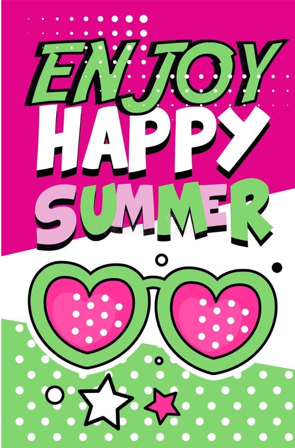 Aprecie a bandeira feliz do verão, ilustração retro brilhante do vetor do cartaz do estilo do pop art ilustração do vetor
