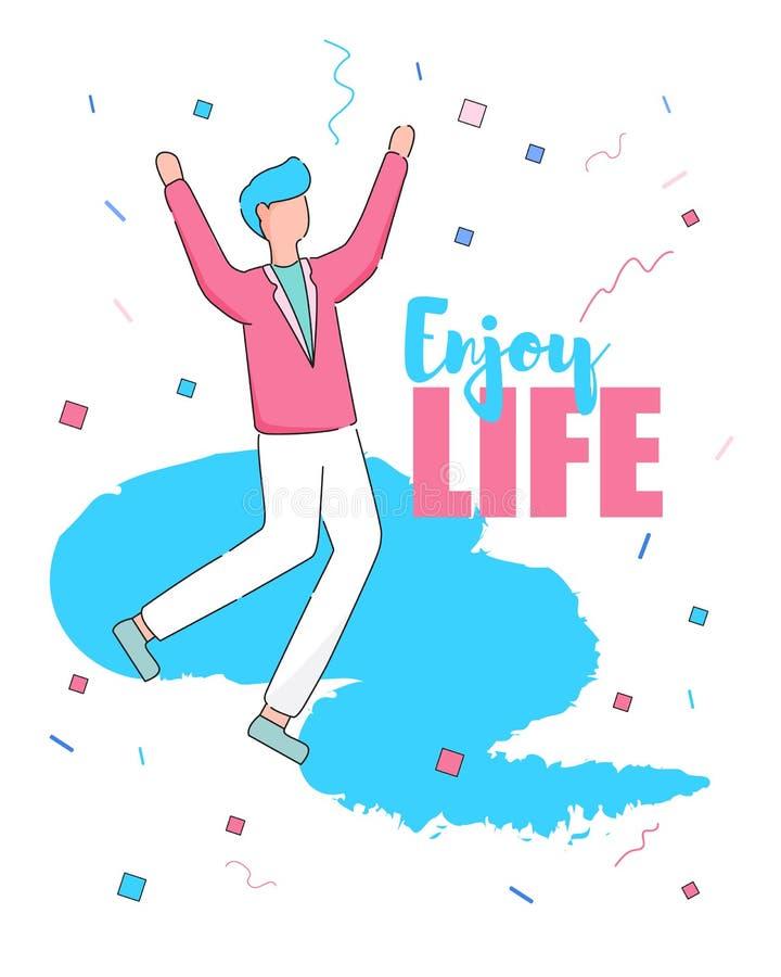 Aprecie a bandeira vertical da vida Dança feliz do homem novo ilustração stock