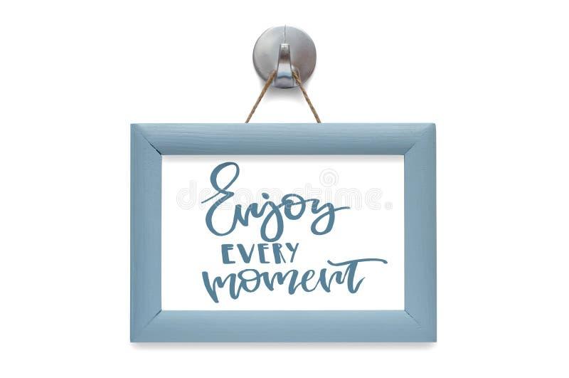 Aprecie cada momento Caligrafia moderna Cita??es inspiradores azul fotos de stock