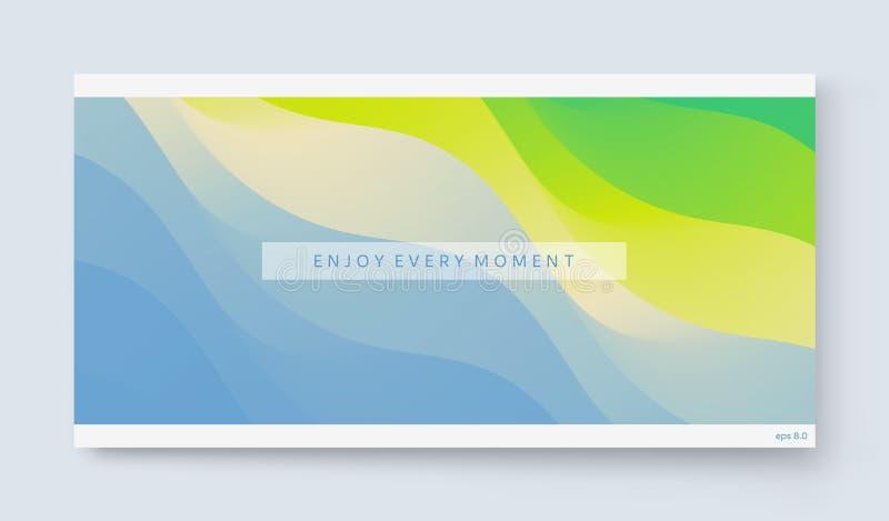 Aprecie cada momento Onda do oceano no Sandy Beach Fundo da natureza Projeto de tela moderno para o app m?vel e a Web ver?o ilustração do vetor