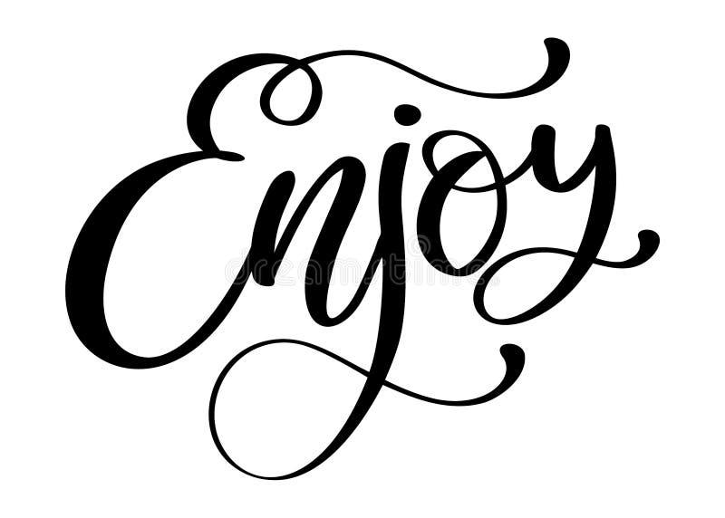 Aprecie citações inspiradas sobre a felicidade Frase moderna da caligrafia ilustração do vetor