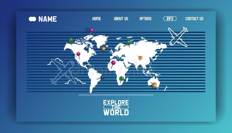 Aprecie a excursão, explore o mundo - ilustração do vetor da bandeira lisa do curso do página da web do projeto com marcos famoso ilustração do vetor