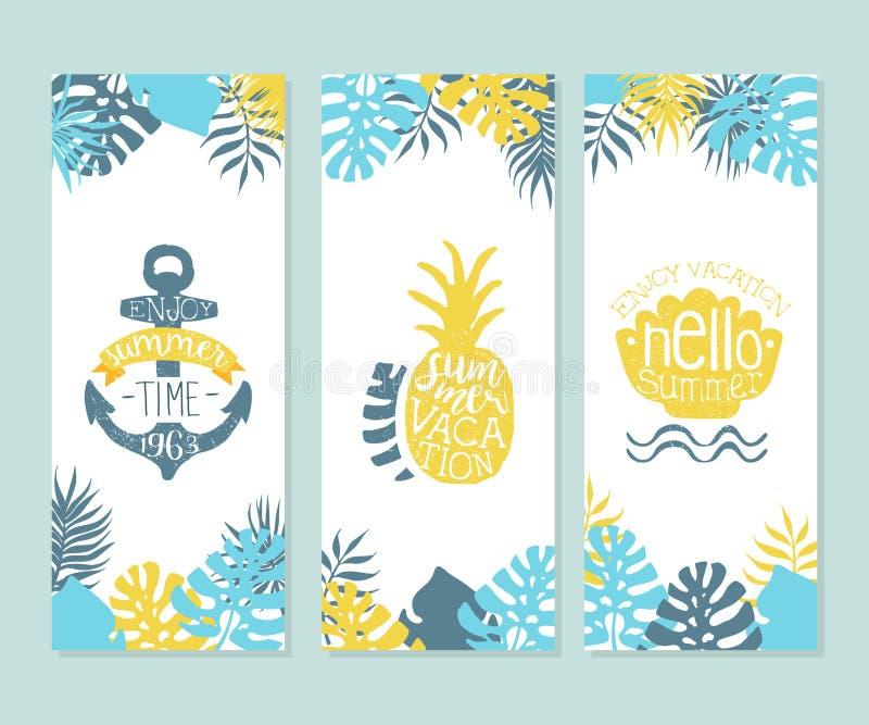 Aprecie horas de verão, aprecie férias, cartaz do verão do vintage, bandeira, cartão, convite, logotipo, vetor tirado mão da etiq ilustração royalty free