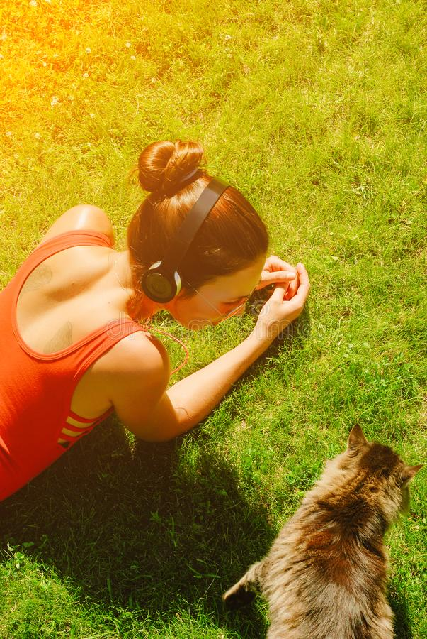 aprecie a música, opinião superior a mulher moreno nova na camisa vermelha, fones de ouvido vestindo, olhando o gato foto de stock