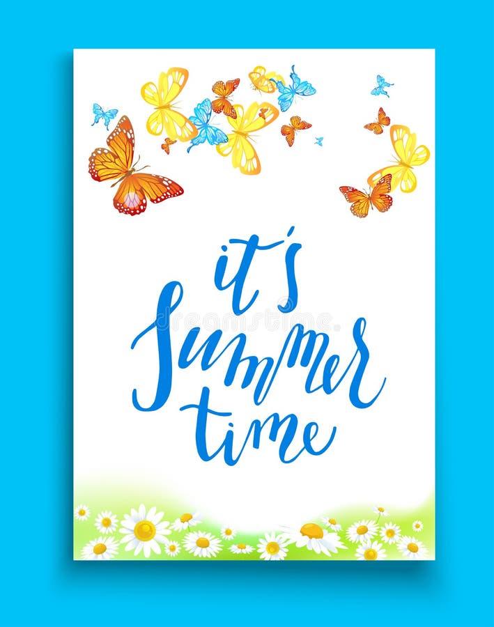 Aprecie o molde das horas de verão ilustração stock