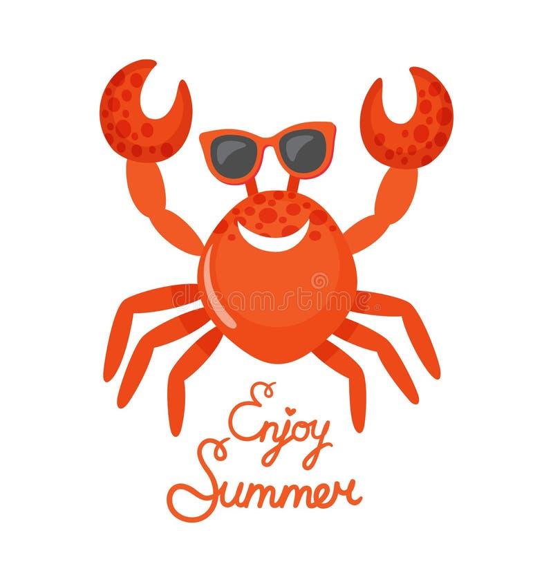 Aprecie o verão, caranguejo nos vidros, animal oceânico ilustração stock