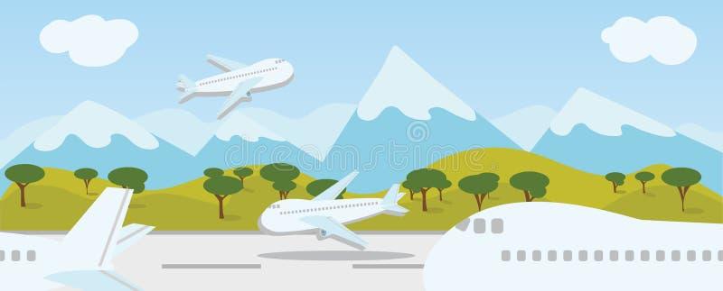 Aprecie sua viagem do curso do feriado em todo o mundo na pista de decolagem do aeroporto ilustração stock