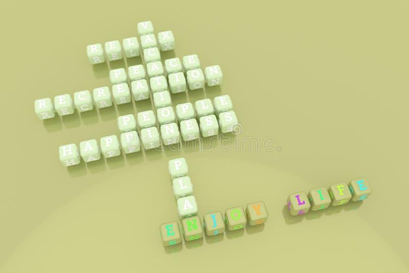 Aprecie a vida, palavras cruzadas felizes da palavra-chave Para o p?gina da web, o projeto gr?fico, a textura ou o fundo rendi??o ilustração stock