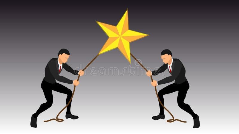 Apreensão de estrelas gigantes por dois pessoas luta final do homem de negócios Arquivo do vetor do EPS 10 ilustração stock