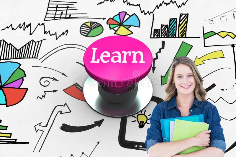 Aprenda contra el botón rosado libre illustration