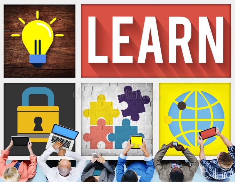 Aprenda el aprendizaje de la educación que estudia concepto del conocimiento libre illustration