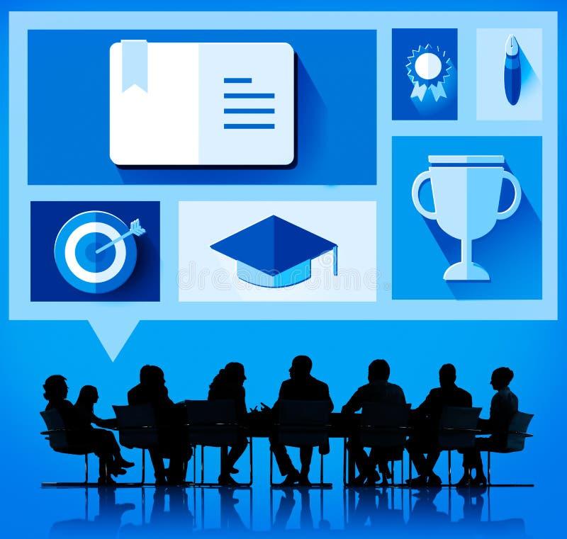 Aprenda el concepto del conocimiento de la educación escolar del estudio stock de ilustración