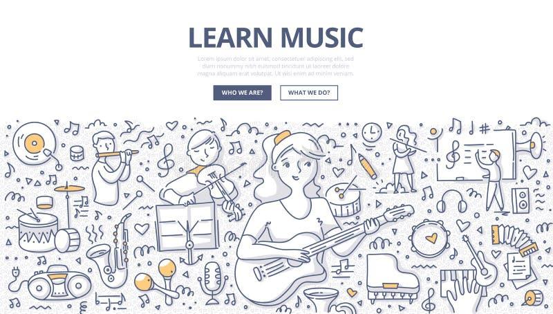 Aprenda el concepto del garabato de la música stock de ilustración