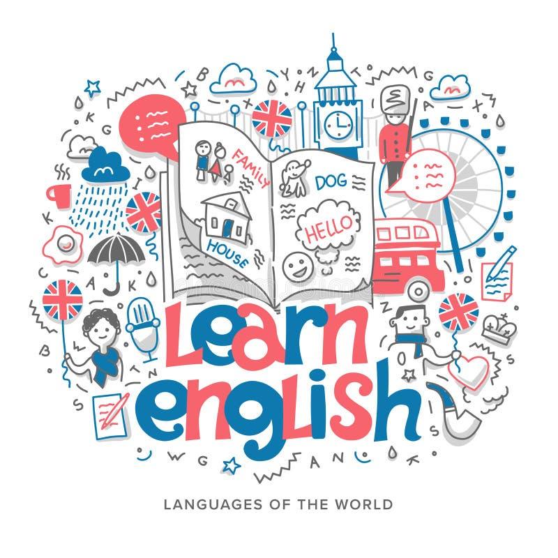 Aprenda el ejemplo inglés del concepto stock de ilustración