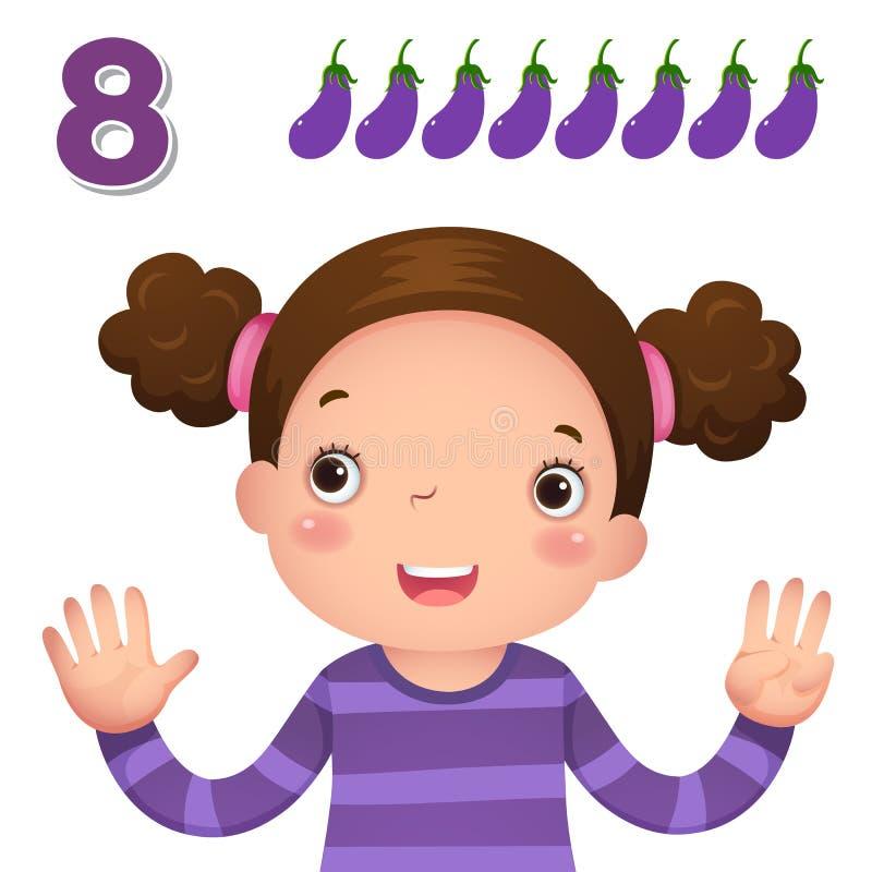 Aprenda el número y la cuenta con la mano de los kid's que muestra el número e stock de ilustración