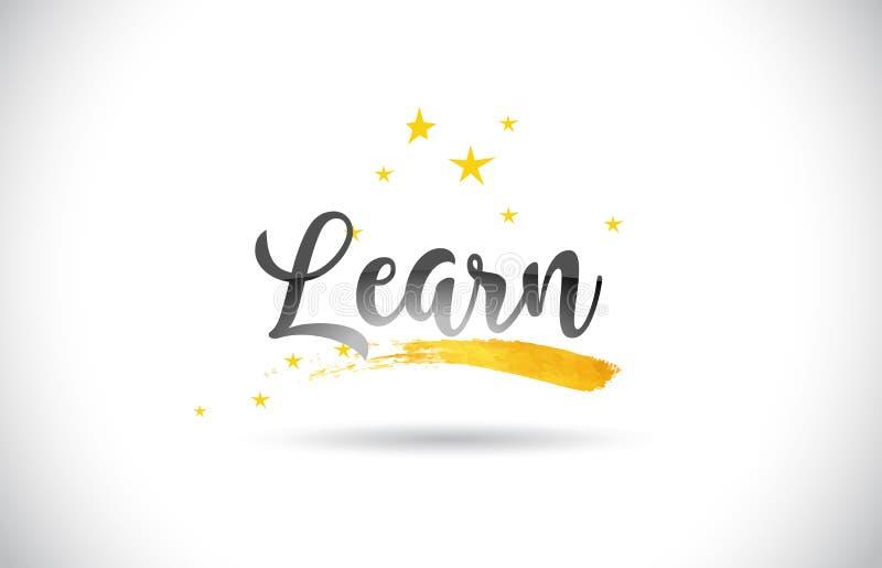 Aprenda el texto del vector de la palabra con el rastro de oro de las estrellas y C manuscrita stock de ilustración