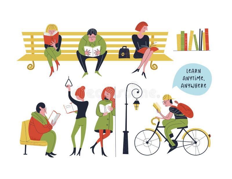 Aprenda en cualquier momento dondequiera Ilustración del vector libre illustration