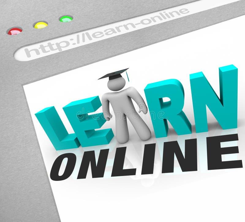 Aprenda en línea - la pantalla del Web stock de ilustración