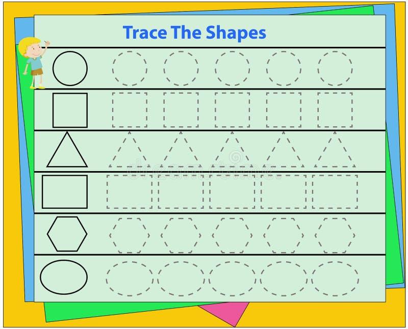 Aprenda formas e figuras geom?tricas Pr?-escolar ou folha do jardim de inf?ncia Ilustra??o do vetor cartão flash geométrico color ilustração do vetor