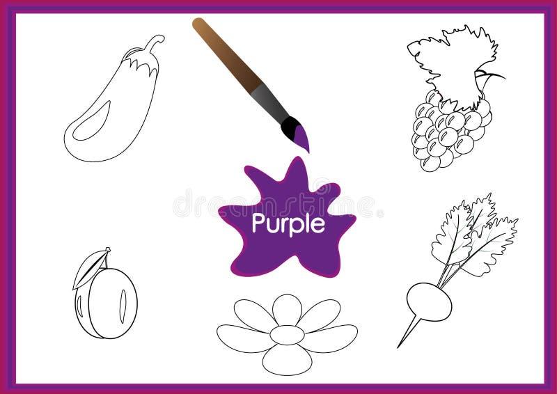 Aprenda los colores, niños están aprendiendo los colores, hoja de trabajo stock de ilustración