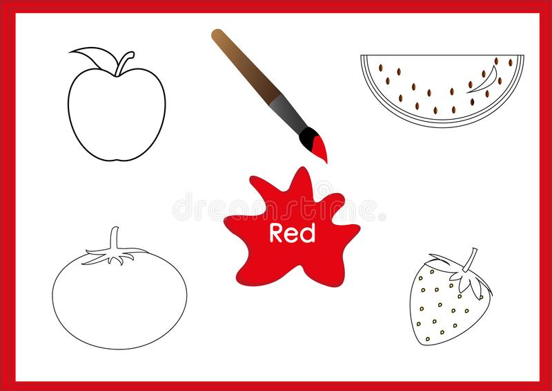 Aprenda los colores, niños están aprendiendo los colores, hoja de trabajo ilustración del vector