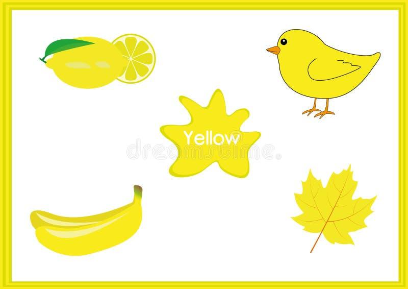 Aprenda los colores, niños están aprendiendo los colores, hoja de trabajo de la diversión stock de ilustración