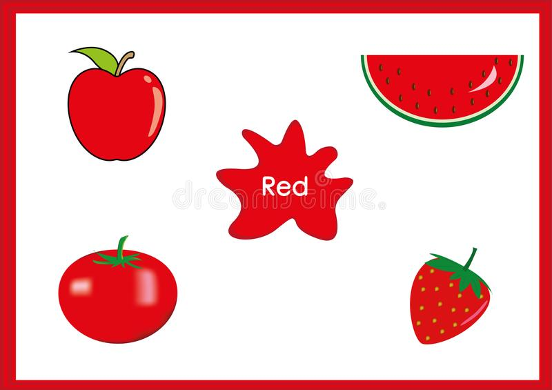 Aprenda los colores, niños están aprendiendo los colores, hoja de trabajo de la diversión ilustración del vector