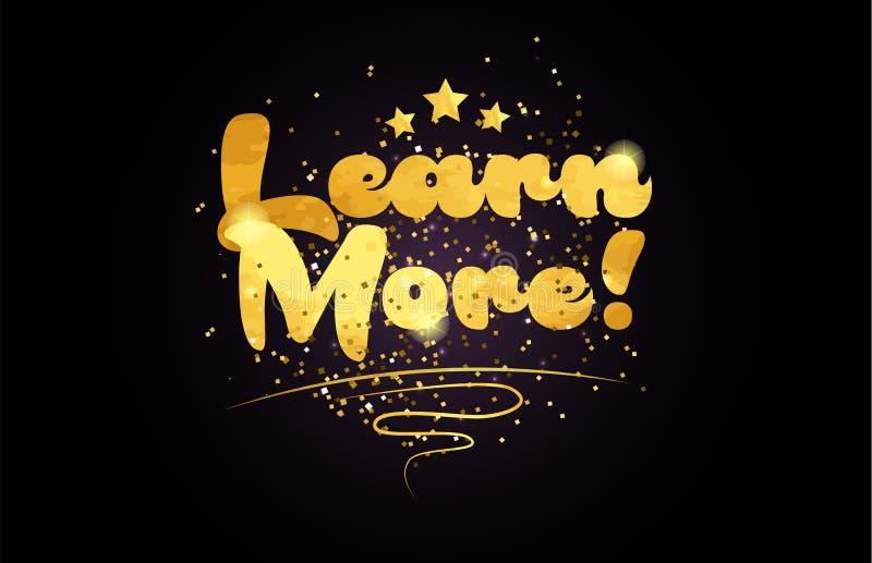 aprenda más icono de oro del logotipo del texto de la palabra del color de la estrella stock de ilustración