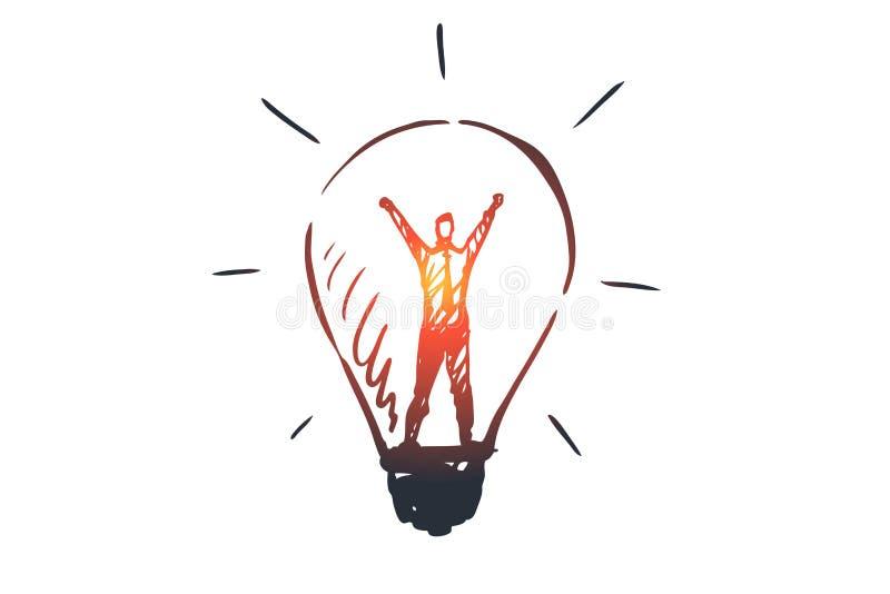Aprenda mais, informação, conhecimento, sucesso, conceito do estudo Vetor isolado tirado mão ilustração stock