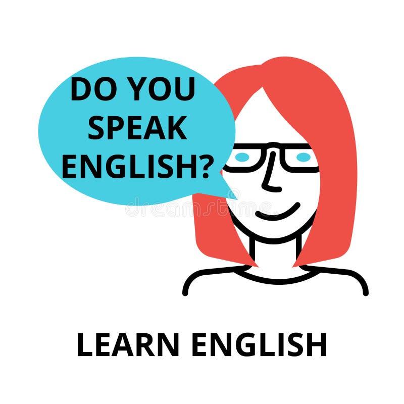 Aprenda o ícone inglês, linha fina lisa ilustração do vetor ilustração royalty free
