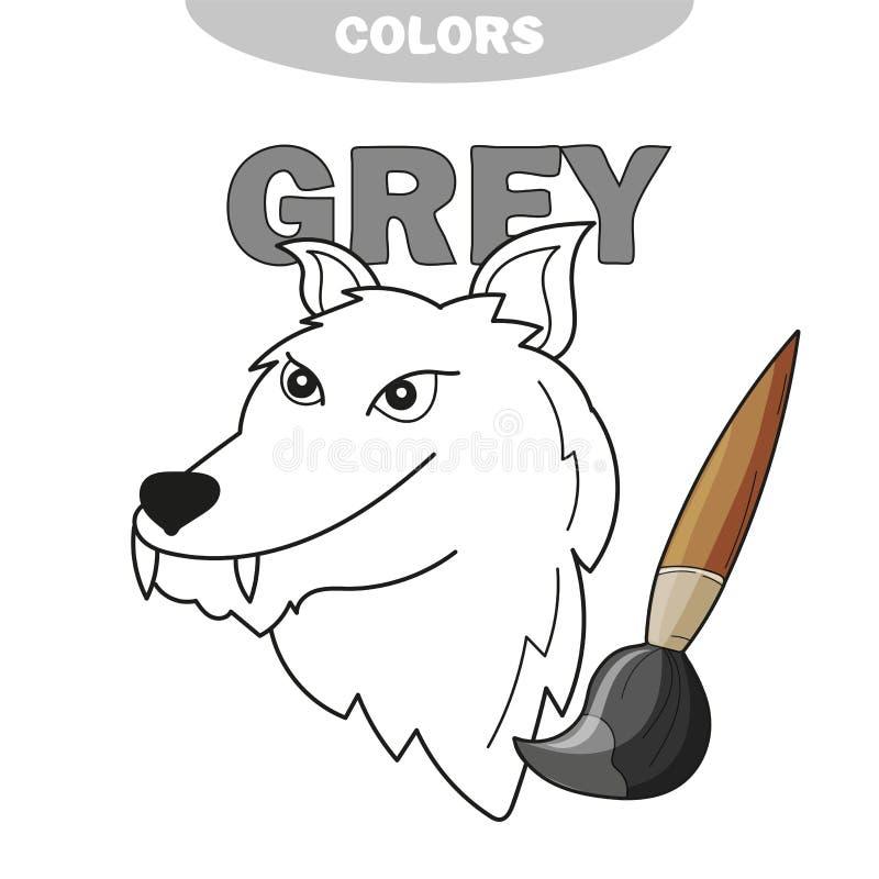 Aprenda o cinza da cor - lobo - livro para colorir ilustração royalty free