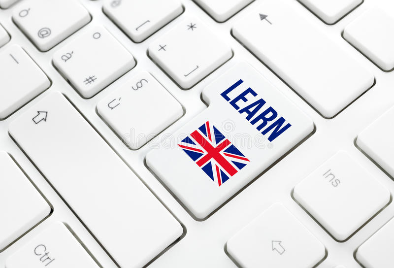 Aprenda o conceito da Web da educação de língua inglesa Fla de Reino Unido ilustração stock