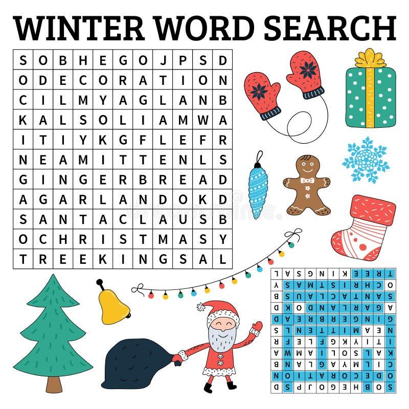 Aprenda o inglês com um jogo de busca da palavra do inverno para crianças Vetor IL ilustração royalty free