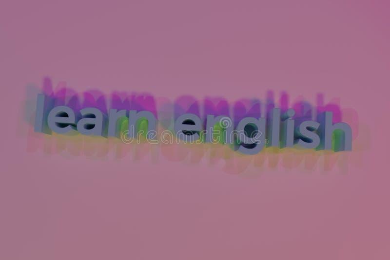 Aprenda o inglês, rendição 3D Tipografia abstrata do fundo, palavras-chaves do cgi para o projeto, recurso gráfico ilustração stock