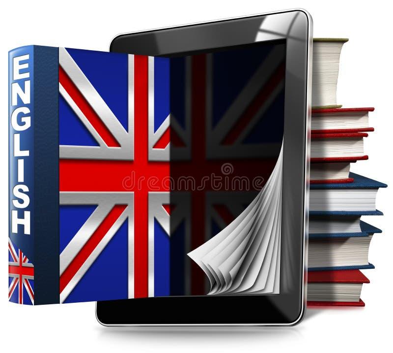 Aprenda o inglês - tablet pc e livros ilustração stock