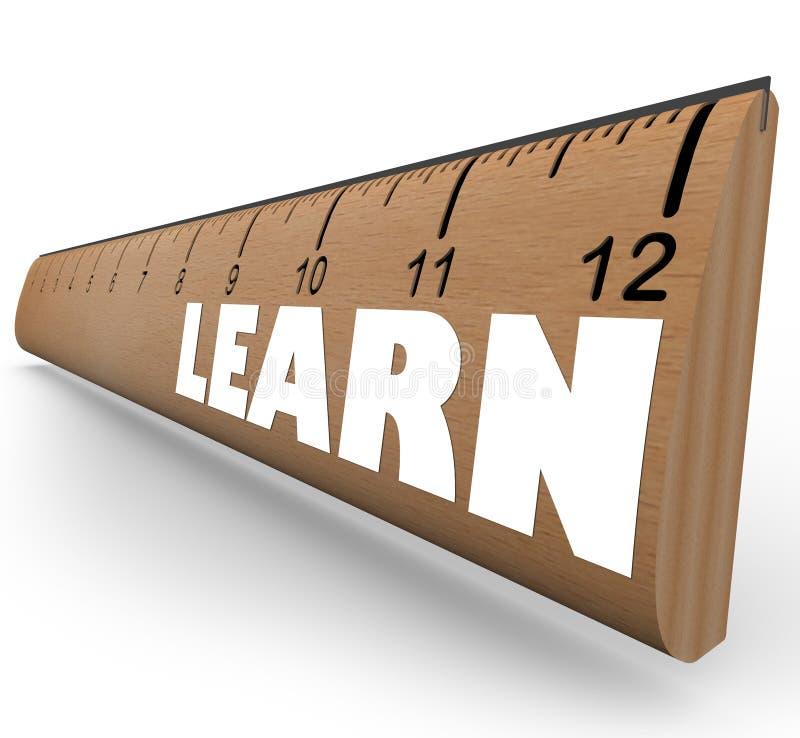 Aprenda a palavra no crescimento do progresso da educação da medida da régua ilustração do vetor