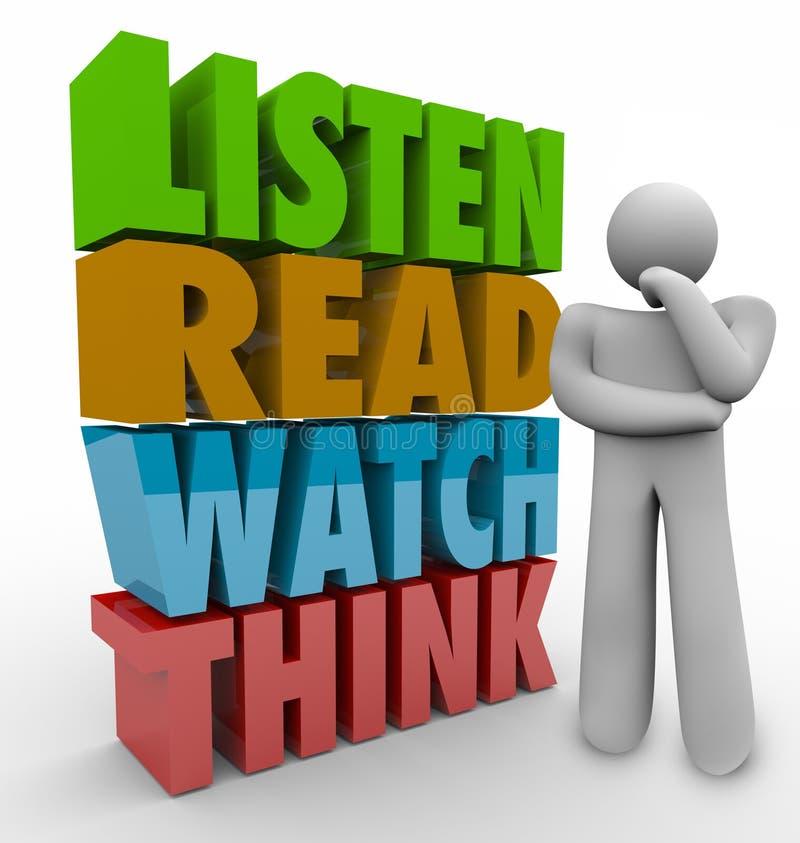 Aprenda que o relógio lido pensa o sistema da aprendizagem das palavras 3d ilustração royalty free