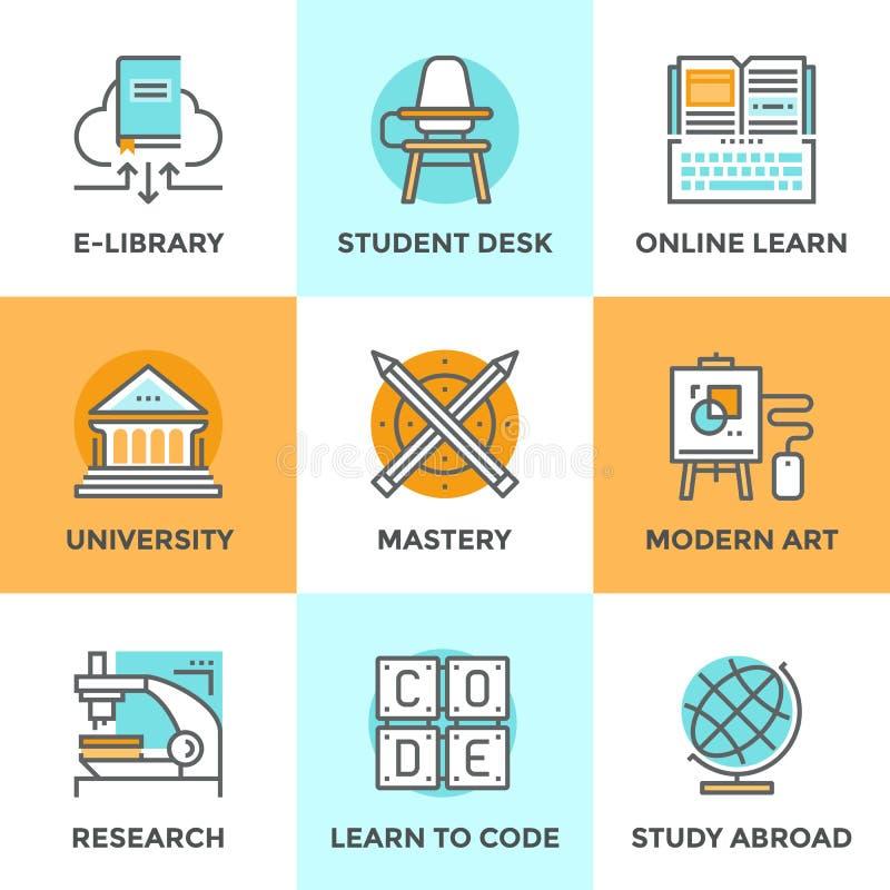 Aprenda y estudie la línea iconos fijados stock de ilustración