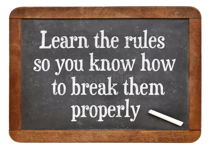 Aprenda y rompa las reglas fotografía de archivo libre de regalías