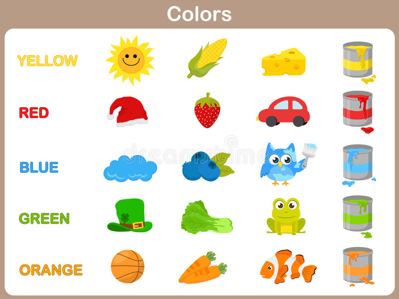 Aprendendo as cores do objeto para crianças ilustração royalty free