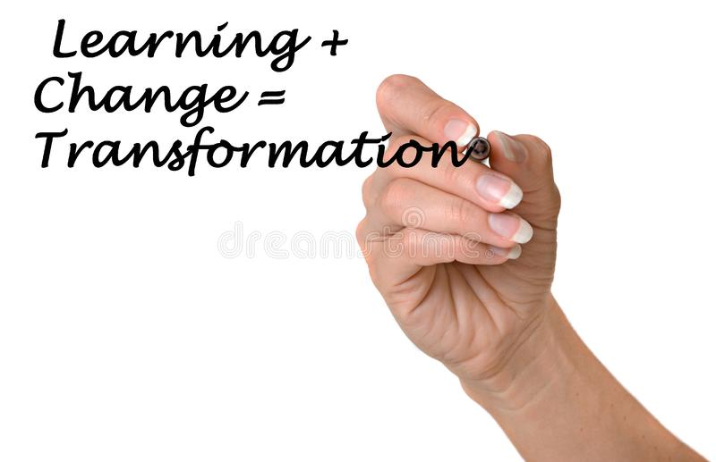 Aprendendo +change=transformation fotografia de stock