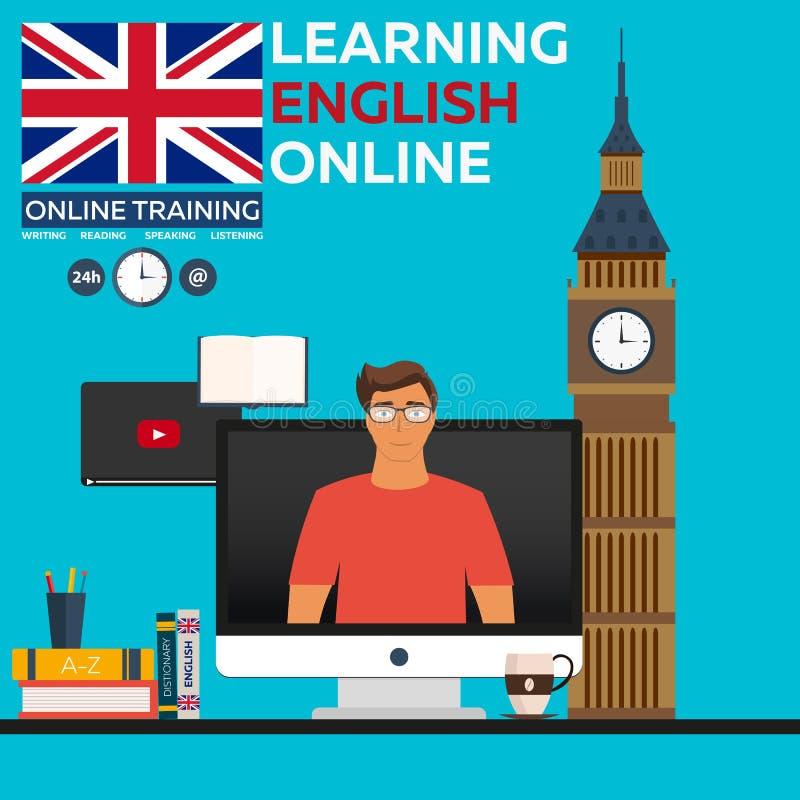 Aprendendo em linha inglês Treinamento em linha Ensino à distância Instrução em linha Cursos de línguas, língua estrangeira, tuto ilustração do vetor