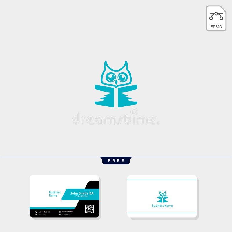 aprendendo a ilustração do vetor do molde do logotipo do livro da coruja, molde livre do projeto de cartão ilustração royalty free