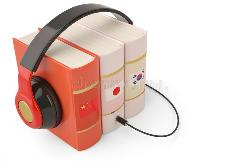 Aprendendo livros e o fones de ouvido em linha do conceito dos audiobooks das línguas foto de stock