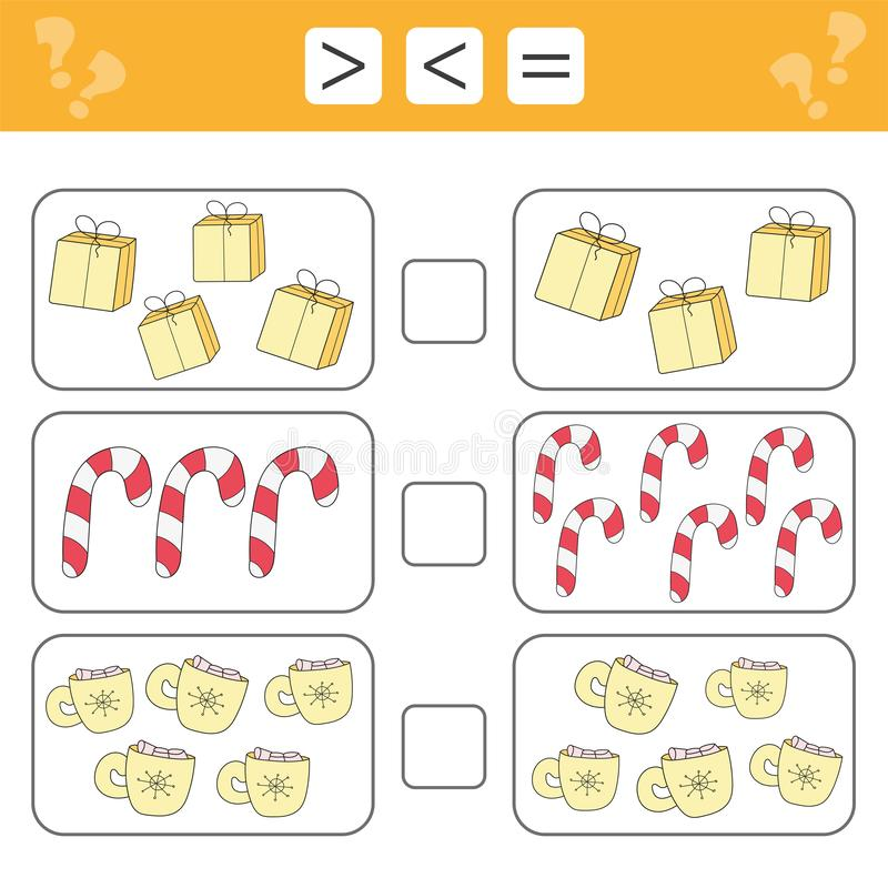 Aprendendo a matemática, números - escolha mais, menos ou igual ilustração do vetor