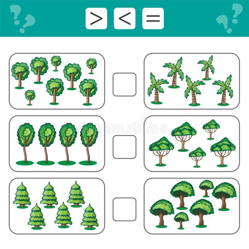 Aprendendo a matemática, números - escolha mais, menos ou igual Tarefas para crianças ilustração do vetor