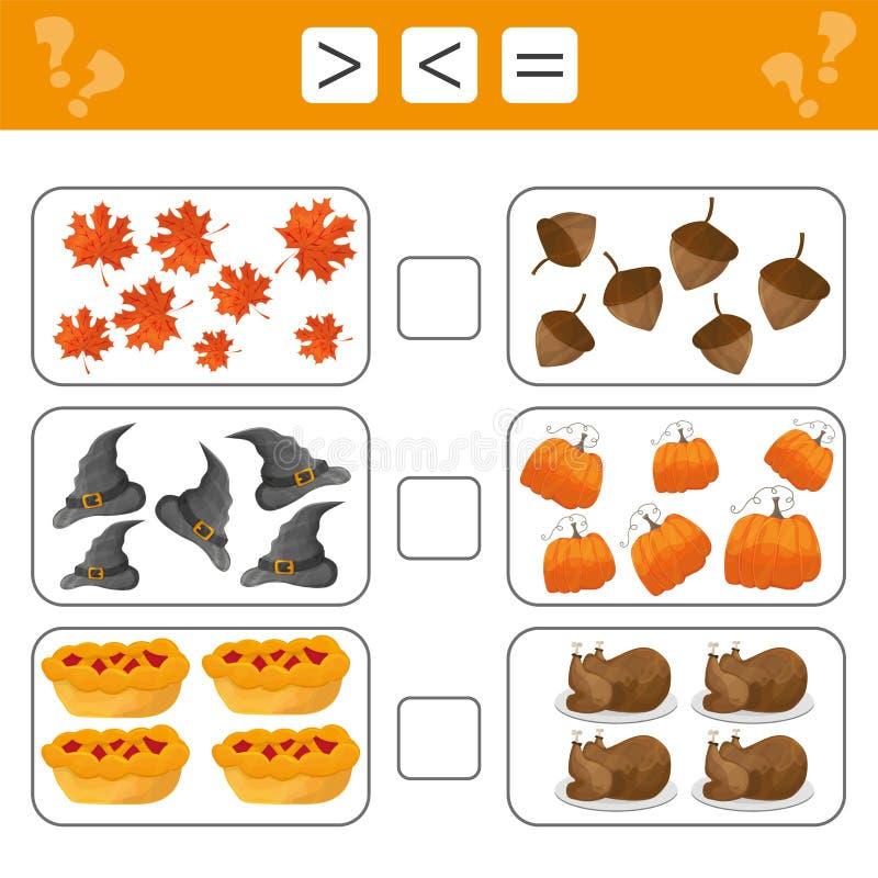 Aprendendo a matemática, números - escolha mais, menos ou igual Tarefas para crianças ilustração royalty free