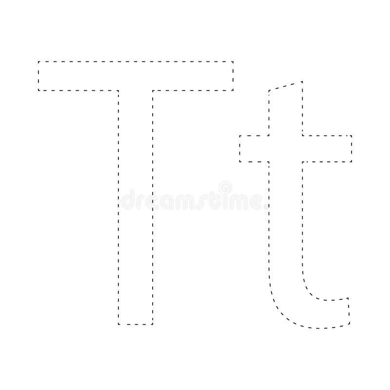 Aprendendo o alfabeto, letra folha Aprendendo o alfabeto Conecte os pontos e a página da coloração Jogo para miúdos Linha traceja ilustração do vetor