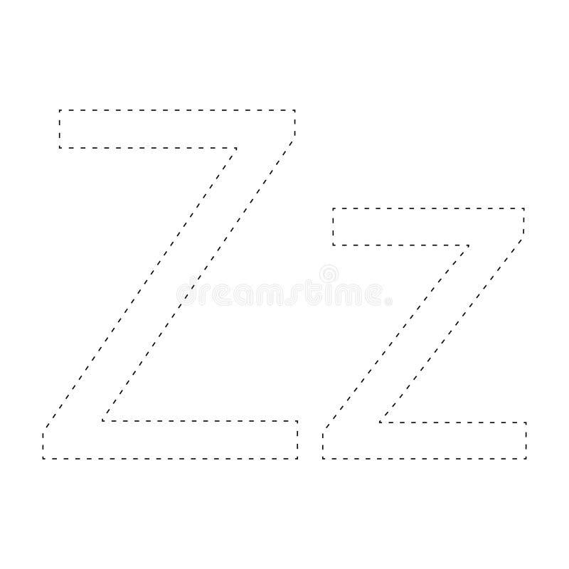 Aprendendo o alfabeto, letra folha Aprendendo o alfabeto Conecte os pontos e a página da coloração Jogo para miúdos Linha traceja ilustração stock