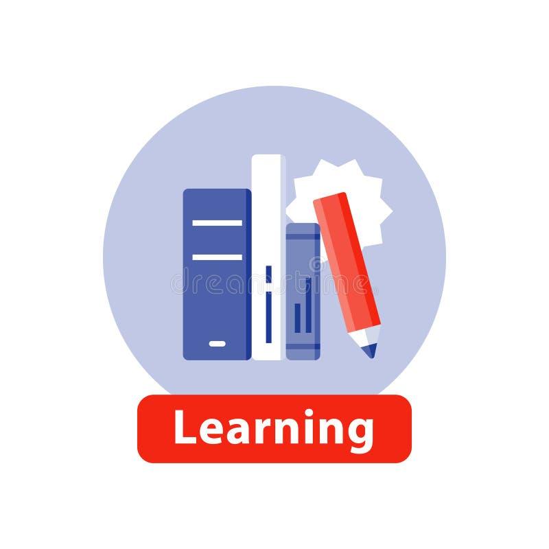 Aprendendo o assunto, educação escolar, livros de estudo, ícone liso ilustração royalty free